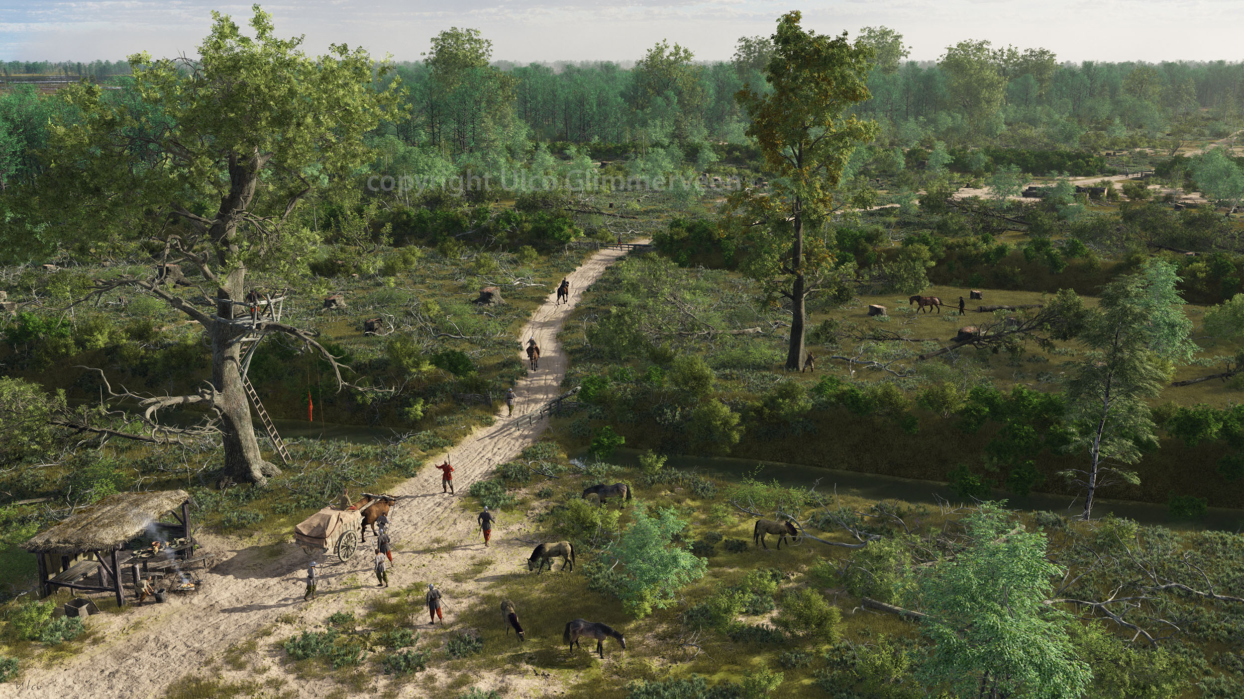 Virtuele blik op de Bocholter Graven in de 16e eeuw.